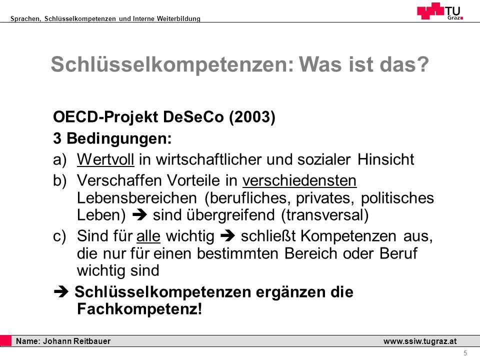 Sprachen, Schlüsselkompetenzen und Interne Weiterbildung Professor Horst Cerjak, 19.12.2005 5 Name: Johann Reitbauer www.ssiw.tugraz.at Schlüsselkompe