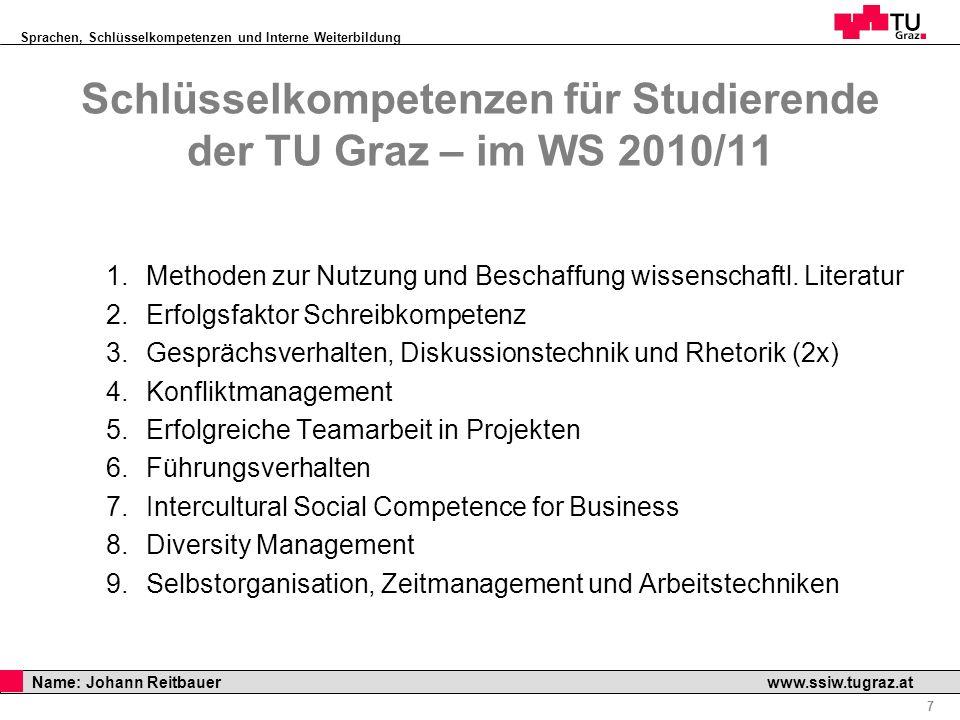 Sprachen, Schlüsselkompetenzen und Interne Weiterbildung Professor Horst Cerjak, 19.12.2005 7 Name: Johann Reitbauer www.ssiw.tugraz.at 1.Methoden zur