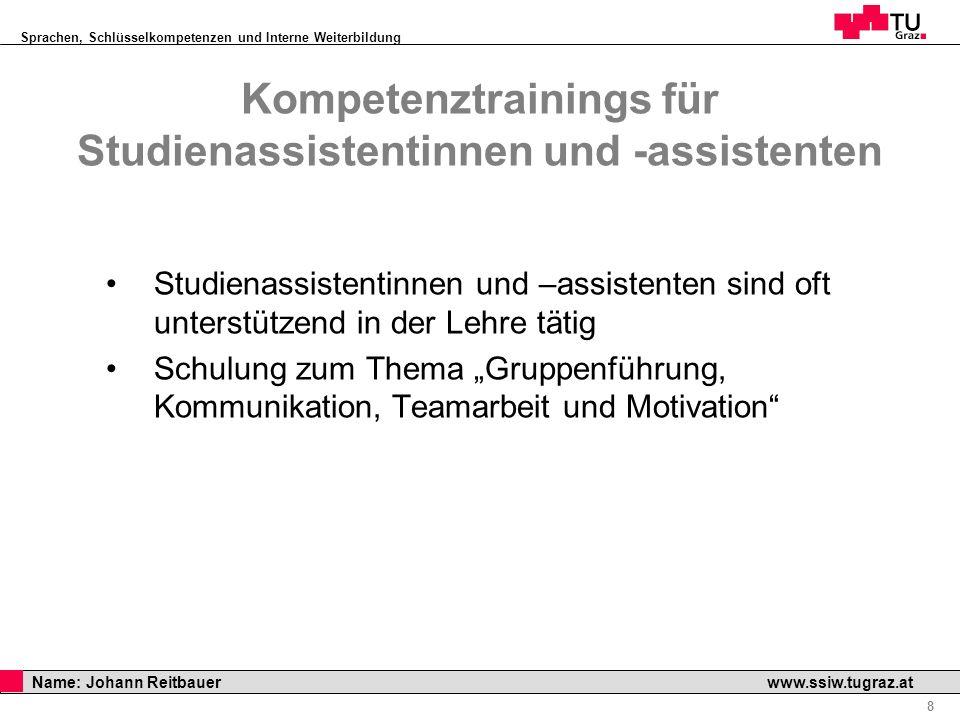 Sprachen, Schlüsselkompetenzen und Interne Weiterbildung Professor Horst Cerjak, 19.12.2005 8 Name: Johann Reitbauer www.ssiw.tugraz.at Kompetenztrain