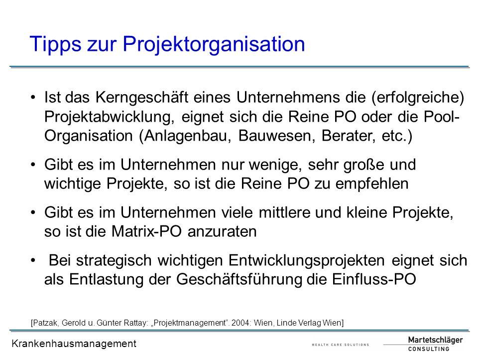 Krankenhausmanagement Tipps zur Projektorganisation Ist das Kerngeschäft eines Unternehmens die (erfolgreiche) Projektabwicklung, eignet sich die Rein