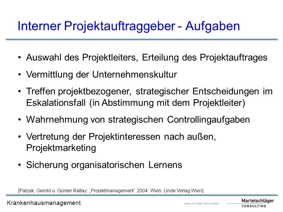 Krankenhausmanagement Interner Projektauftraggeber - Aufgaben Auswahl des Projektleiters, Erteilung des Projektauftrages Vermittlung der Unternehmensk