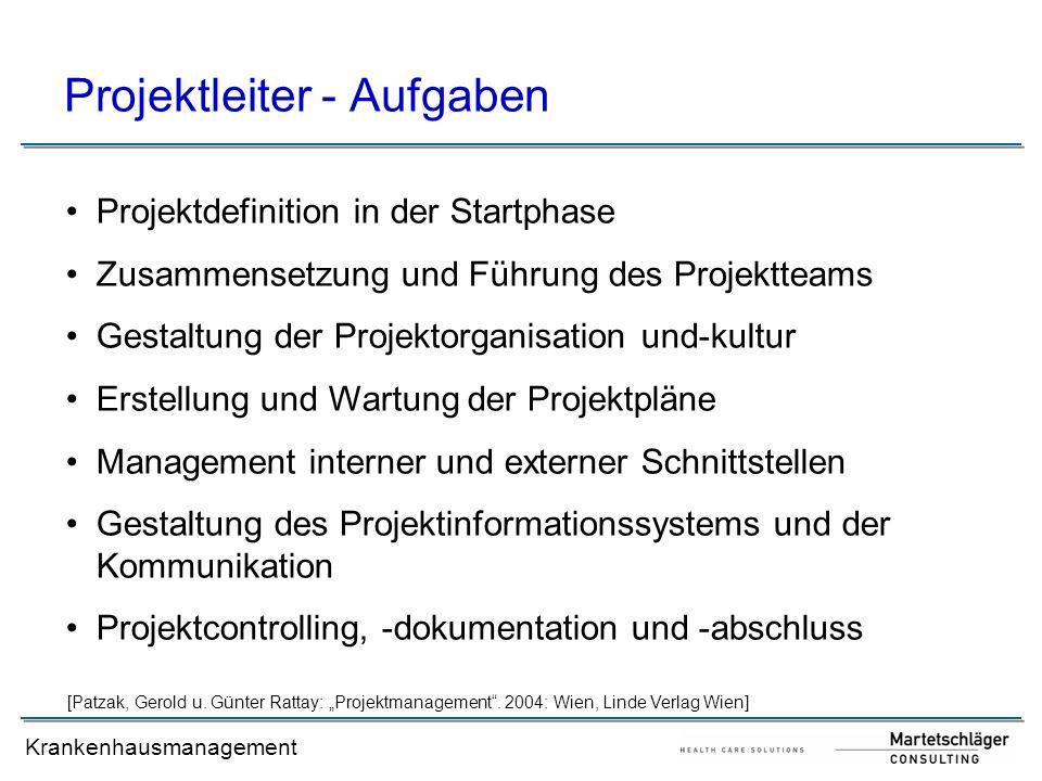 Krankenhausmanagement Projektleiter - Aufgaben Projektdefinition in der Startphase Zusammensetzung und Führung des Projektteams Gestaltung der Projekt