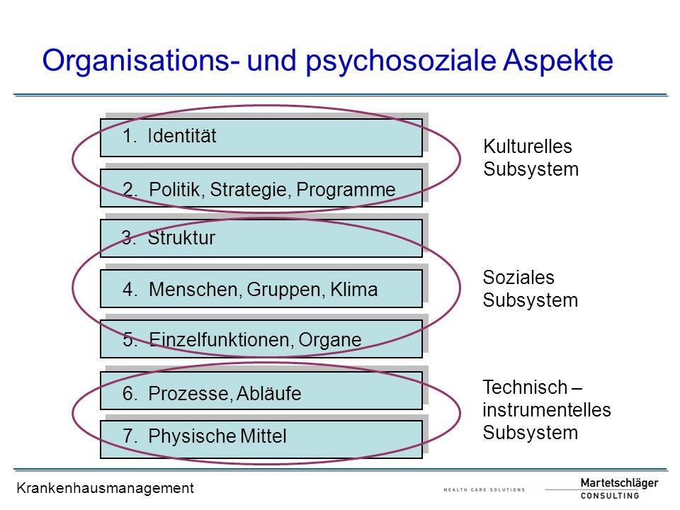 Krankenhausmanagement Organisations- und psychosoziale Aspekte 1.Identität 2. Politik, Strategie, Programme 3. Struktur 4. Menschen, Gruppen, Klima 5.