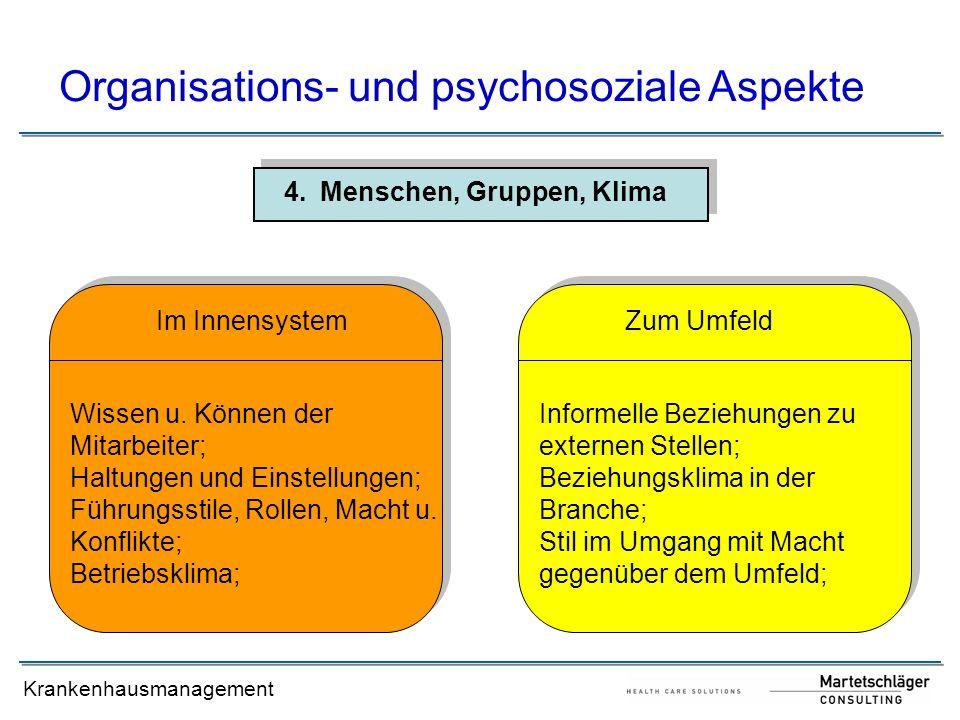 Krankenhausmanagement 4.Menschen, Gruppen, Klima Organisations- und psychosoziale Aspekte Wissen u. Können der Mitarbeiter; Haltungen und Einstellunge
