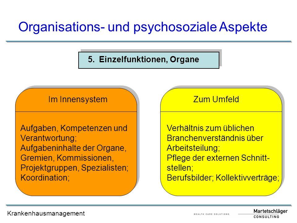 Krankenhausmanagement 5.Einzelfunktionen, Organe Organisations- und psychosoziale Aspekte Aufgaben, Kompetenzen und Verantwortung; Aufgabeninhalte der