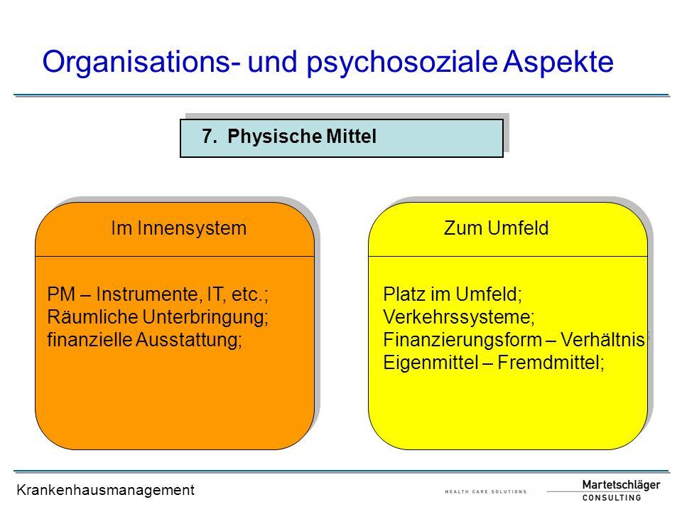 Krankenhausmanagement 7.Physische Mittel Organisations- und psychosoziale Aspekte PM – Instrumente, IT, etc.; Räumliche Unterbringung; finanzielle Aus
