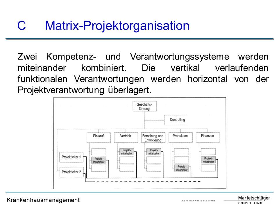 Krankenhausmanagement CMatrix-Projektorganisation Zwei Kompetenz- und Verantwortungssysteme werden miteinander kombiniert. Die vertikal verlaufenden f