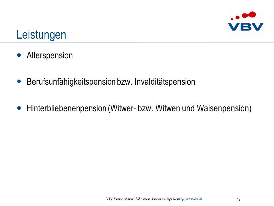 VBV-Pensionskasse AG - Jeder Zeit die richtige Lösung. www.vbv.at 12 Leistungen Alterspension Berufsunfähigkeitspension bzw. Invalditätspension Hinter