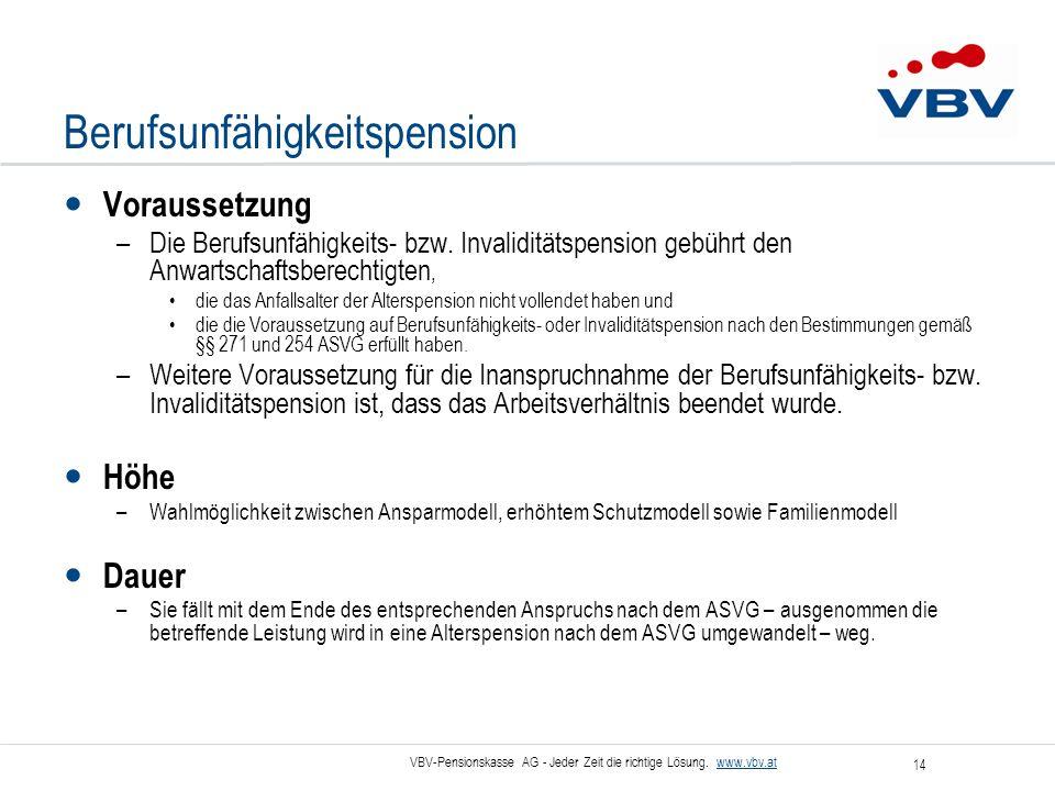VBV-Pensionskasse AG - Jeder Zeit die richtige Lösung. www.vbv.at 14 Berufsunfähigkeitspension Voraussetzung –Die Berufsunfähigkeits- bzw. Invalidität