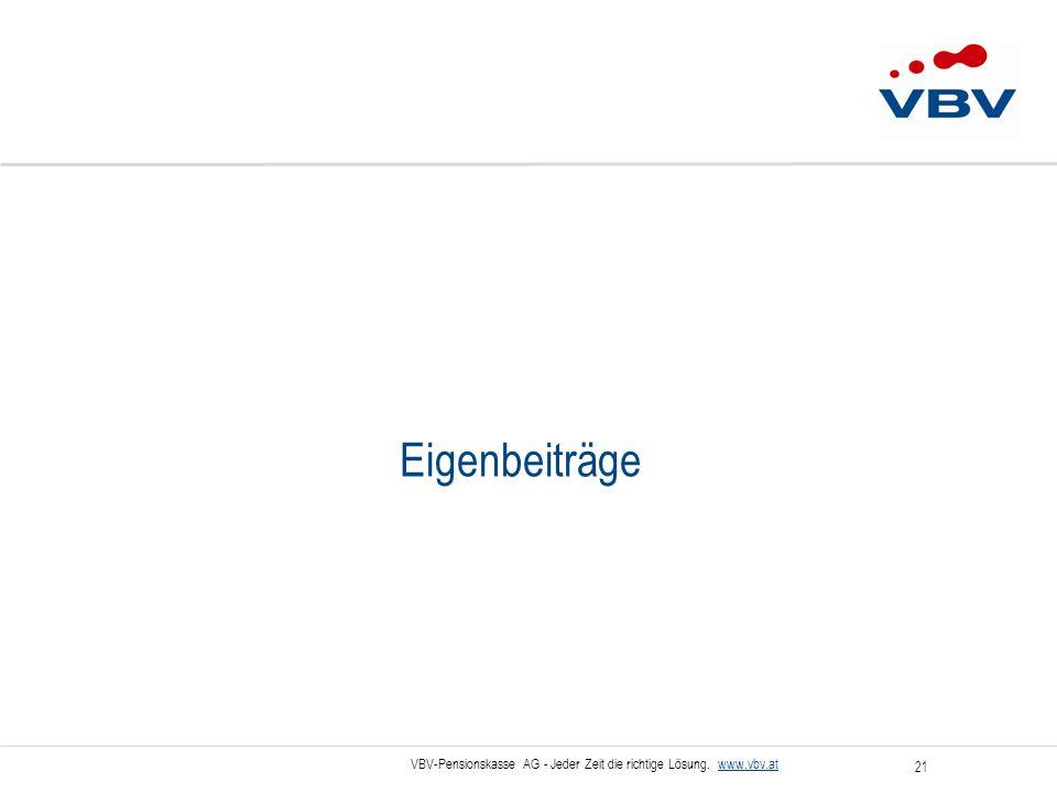 VBV-Pensionskasse AG - Jeder Zeit die richtige Lösung. www.vbv.at 21 Eigenbeiträge