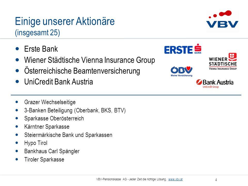VBV-Pensionskasse AG - Jeder Zeit die richtige Lösung. www.vbv.at 4 Einige unserer Aktionäre (insgesamt 25) Erste Bank Wiener Städtische Vienna Insura