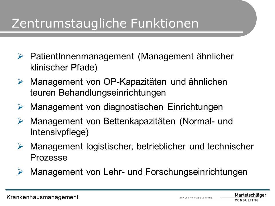 Krankenhausmanagement PatientInnenmanagement (Management ähnlicher klinischer Pfade) Management von OP-Kapazitäten und ähnlichen teuren Behandlungsein