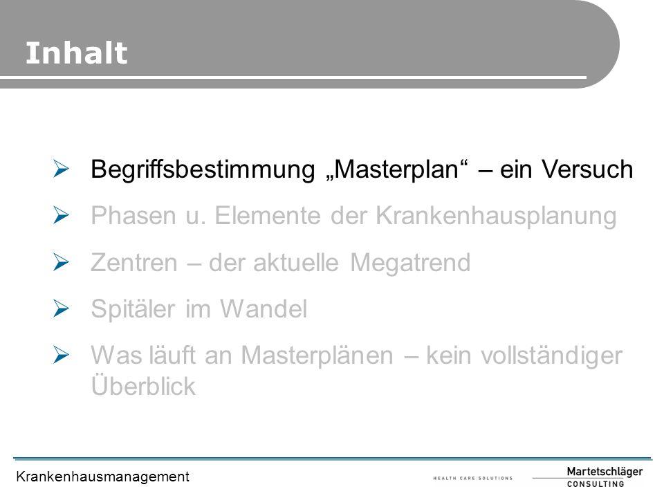Krankenhausmanagement Begriffsbestimmung Masterplan – ein Versuch Phasen u. Elemente der Krankenhausplanung Zentren – der aktuelle Megatrend Spitäler