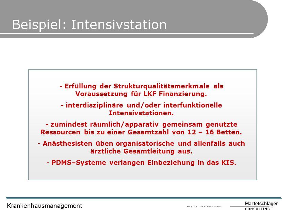 Krankenhausmanagement Beispiel: Intensivstation - Erfüllung der Strukturqualitätsmerkmale als Voraussetzung für LKF Finanzierung. - interdisziplinäre