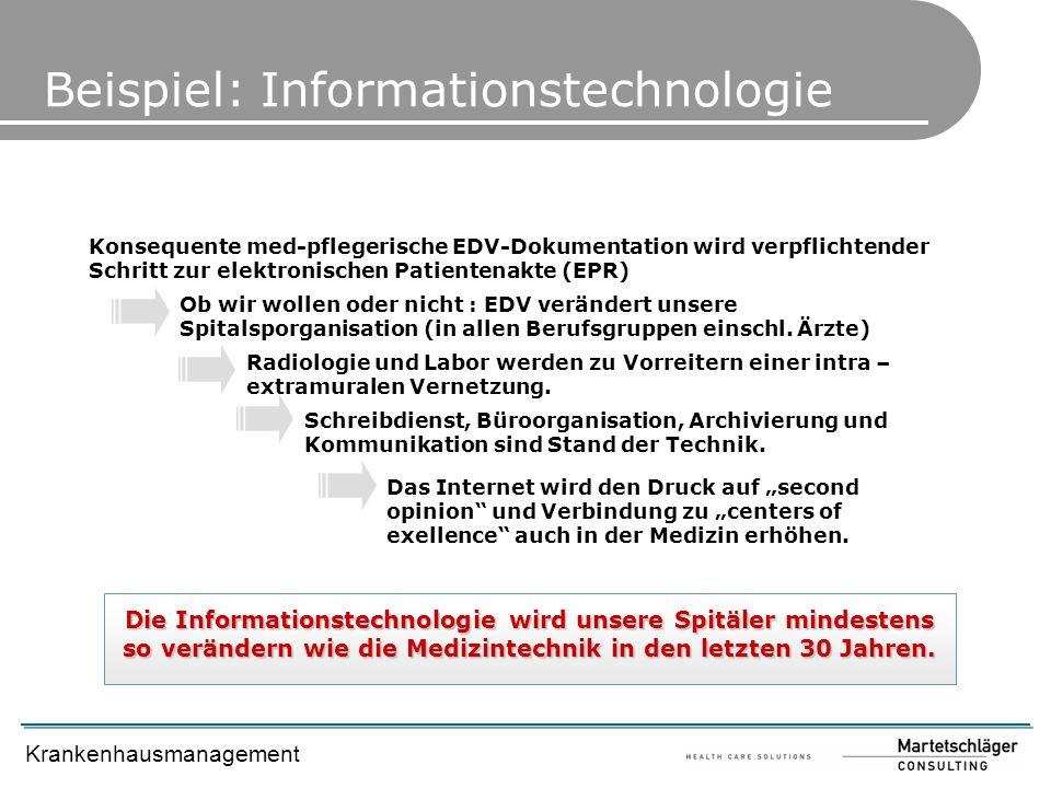 Krankenhausmanagement Beispiel: Informationstechnologie Konsequente med-pflegerische EDV-Dokumentation wird verpflichtender Schritt zur elektronischen