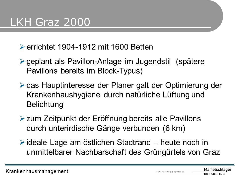 Krankenhausmanagement LKH Graz 2000 errichtet 1904-1912 mit 1600 Betten geplant als Pavillon-Anlage im Jugendstil (spätere Pavillons bereits im Block-