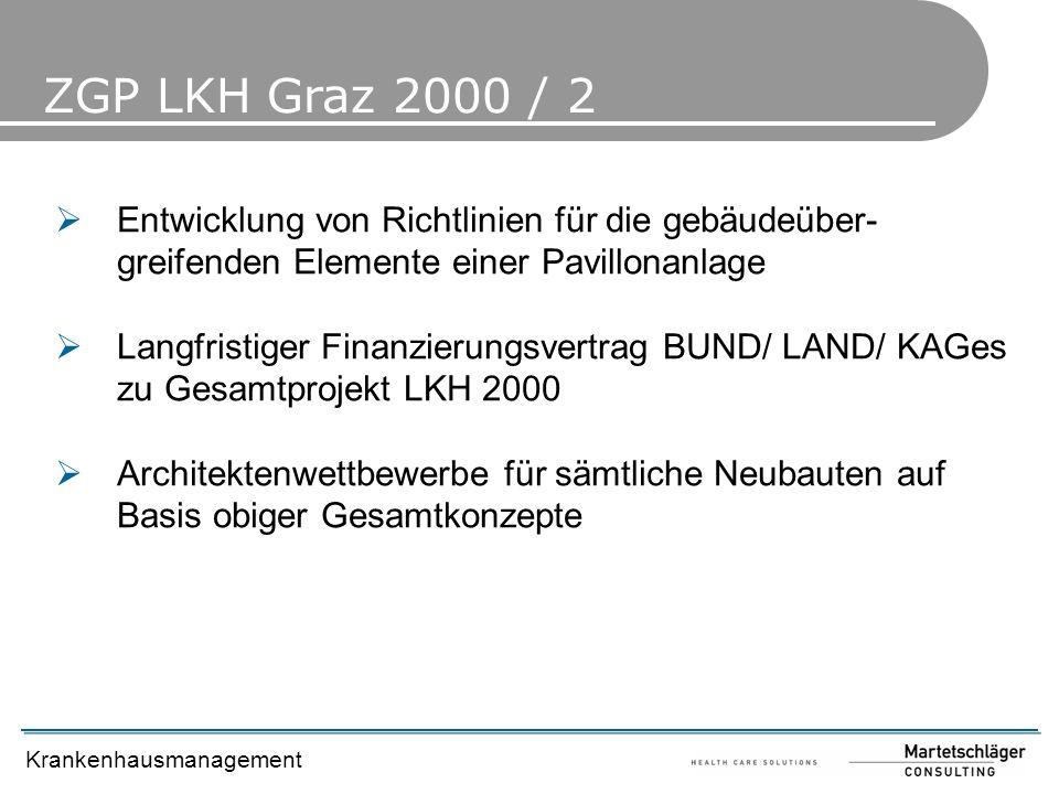 Krankenhausmanagement ZGP LKH Graz 2000 / 2 Entwicklung von Richtlinien für die gebäudeüber- greifenden Elemente einer Pavillonanlage Langfristiger Fi