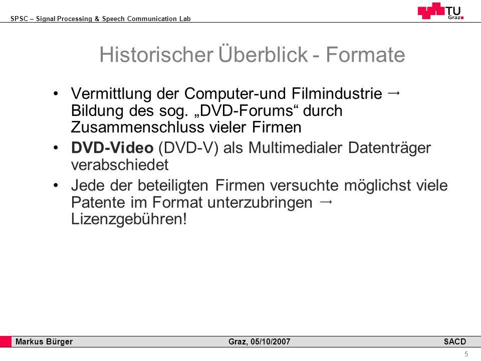 SPSC – Signal Processing & Speech Communication Lab Professor Horst Cerjak, 19.12.2005 5 Markus Bürger Graz, 05/10/2007 SACD Historischer Überblick - Formate Vermittlung der Computer-und Filmindustrie Bildung des sog.
