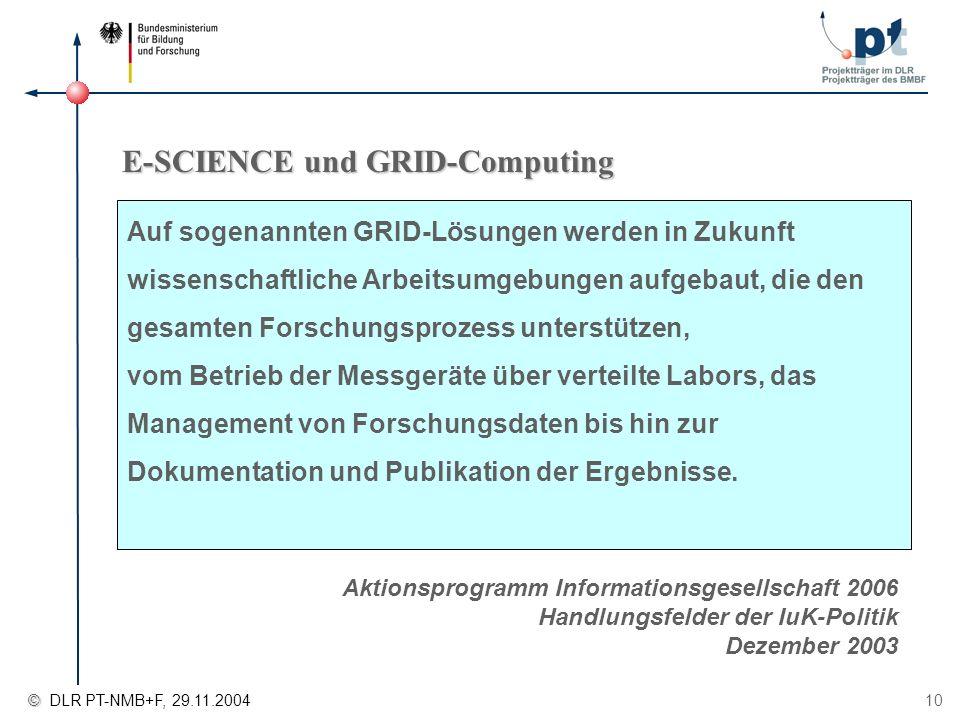 © © DLR PT-NMB+F, 29.11.2004 10 E-SCIENCE und GRID-Computing Aktionsprogramm Informationsgesellschaft 2006 Handlungsfelder der IuK-Politik Dezember 20