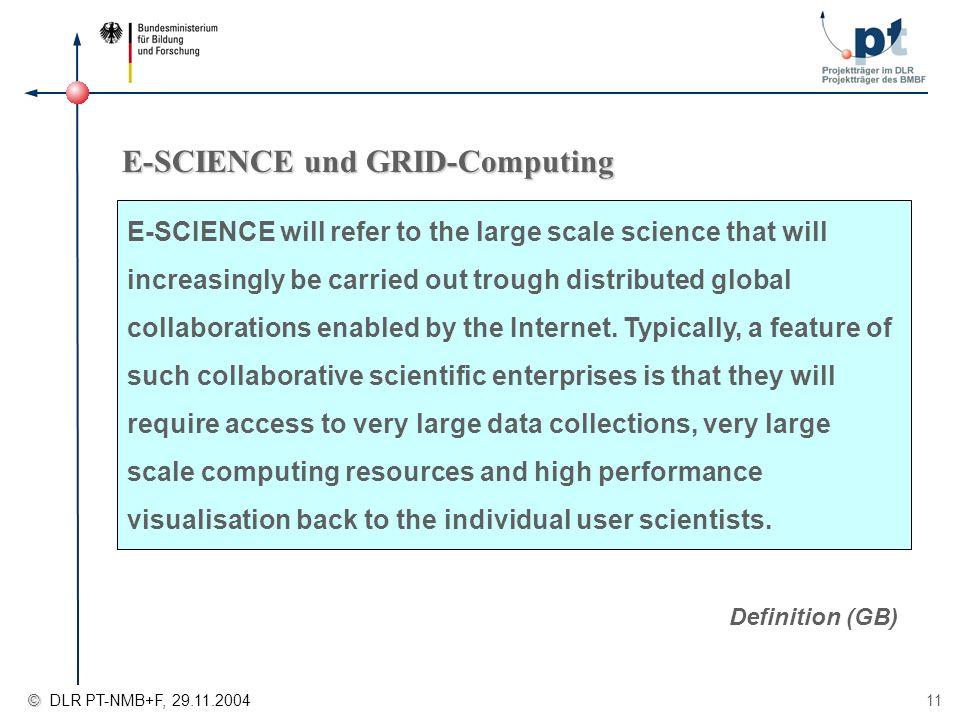 © © DLR PT-NMB+F, 29.11.2004 11 E-SCIENCE und GRID-Computing Definition (GB) E-SCIENCE will refer to the large scale science that will increasingly be