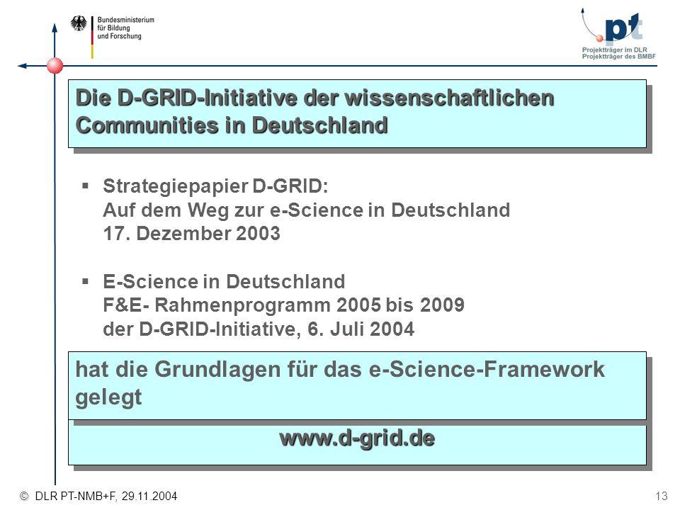 © © DLR PT-NMB+F, 29.11.2004 13 Die D-GRID-Initiative der wissenschaftlichen Communities in Deutschland Strategiepapier D-GRID: Auf dem Weg zur e-Scie