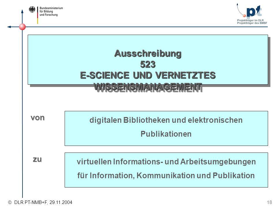 © © DLR PT-NMB+F, 29.11.2004 18 Ausschreibung 523 E-SCIENCE UND VERNETZTES WISSENSMANAGEMENT digitalen Bibliotheken und elektronischen Publikationen v