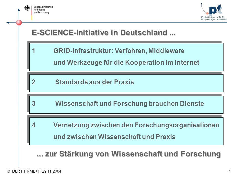 4 1GRID-Infrastruktur: Verfahren, Middleware und Werkzeuge für die Kooperation im Internet E-SCIENCE-Initiative in Deutschland... 2Standards aus der P