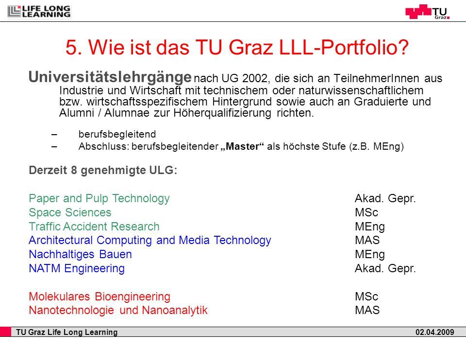 TU Graz Life Long Learning 02.04.2009 5. Wie ist das TU Graz LLL-Portfolio? Universitätslehrgänge nach UG 2002, die sich an TeilnehmerInnen aus Indust