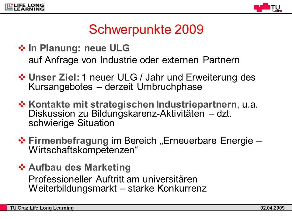 TU Graz Life Long Learning 02.04.2009 In Planung: neue ULG auf Anfrage von Industrie oder externen Partnern Unser Ziel: 1 neuer ULG / Jahr und Erweite