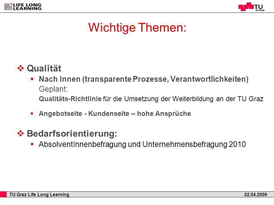 TU Graz Life Long Learning 02.04.2009 Qualität Nach Innen (transparente Prozesse, Verantwortlichkeiten) Geplant: Qualitäts-Richtlinie für die Umsetzun