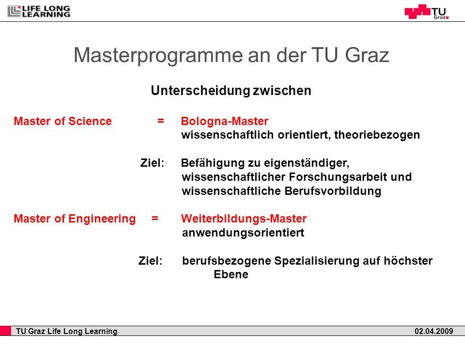 TU Graz Life Long Learning 02.04.2009 Masterprogramme an der TU Graz Unterscheidung zwischen Master of Science = Bologna-Master wissenschaftlich orien