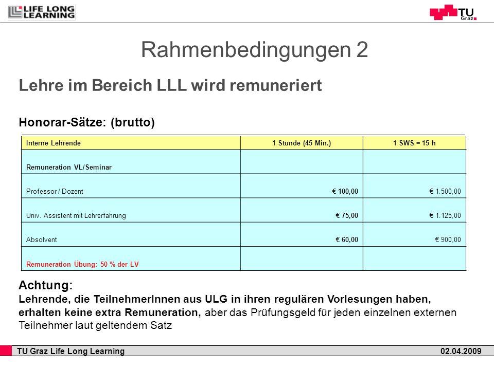 TU Graz Life Long Learning 02.04.2009 Rahmenbedingungen 2 Lehre im Bereich LLL wird remuneriert Honorar-Sätze: (brutto) Achtung: Lehrende, die Teilneh