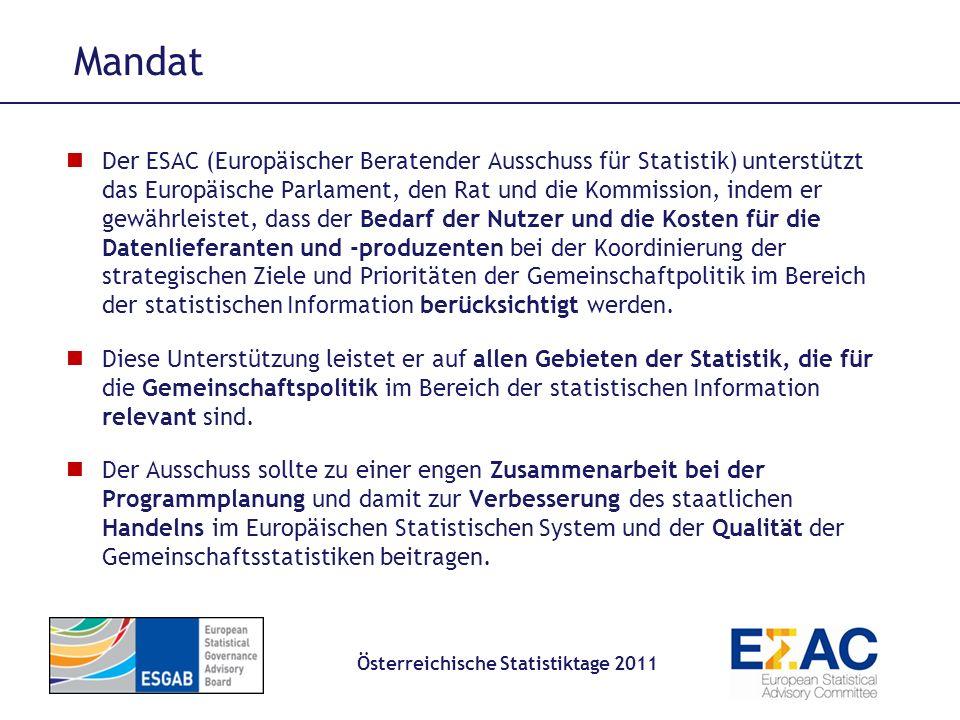 Mitglieder Österreichische Statistiktage 2011 24 Mitglieder, Amtszeit 5 Jahre, einmalige Wiederernennung zulässig 12 Mitglieder von Kommission ernannt Datennutzer Datenmelder andere Wirtschaftsakteure (Interessenvertretungen, Wissenschaft, etc) Eurostat Generaldirektor (kein Stimmrecht) 11 Mitglieder direkt ernannt von Europäischen Parlament Europäischer Rat Europ.