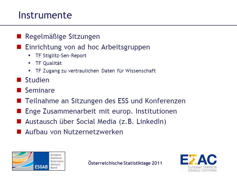 Instrumente Österreichische Statistiktage 2011 Regelmäßige Sitzungen Einrichtung von ad hoc Arbeitsgruppen TF Stiglitz-Sen-Report TF Qualität TF Zugan