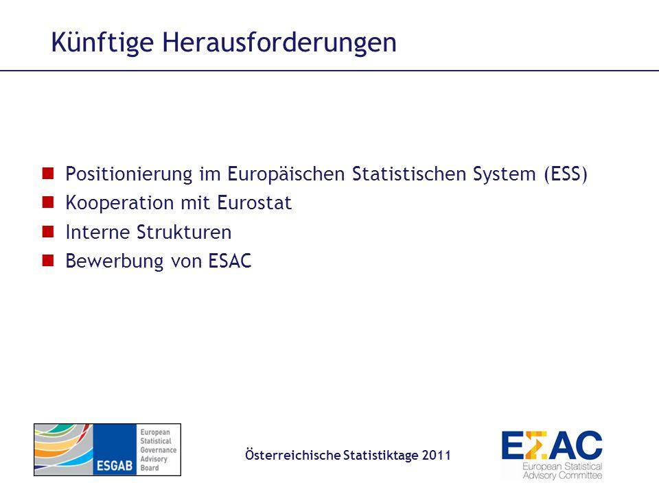 Künftige Herausforderungen Österreichische Statistiktage 2011 Positionierung im Europäischen Statistischen System (ESS) Kooperation mit Eurostat Inter