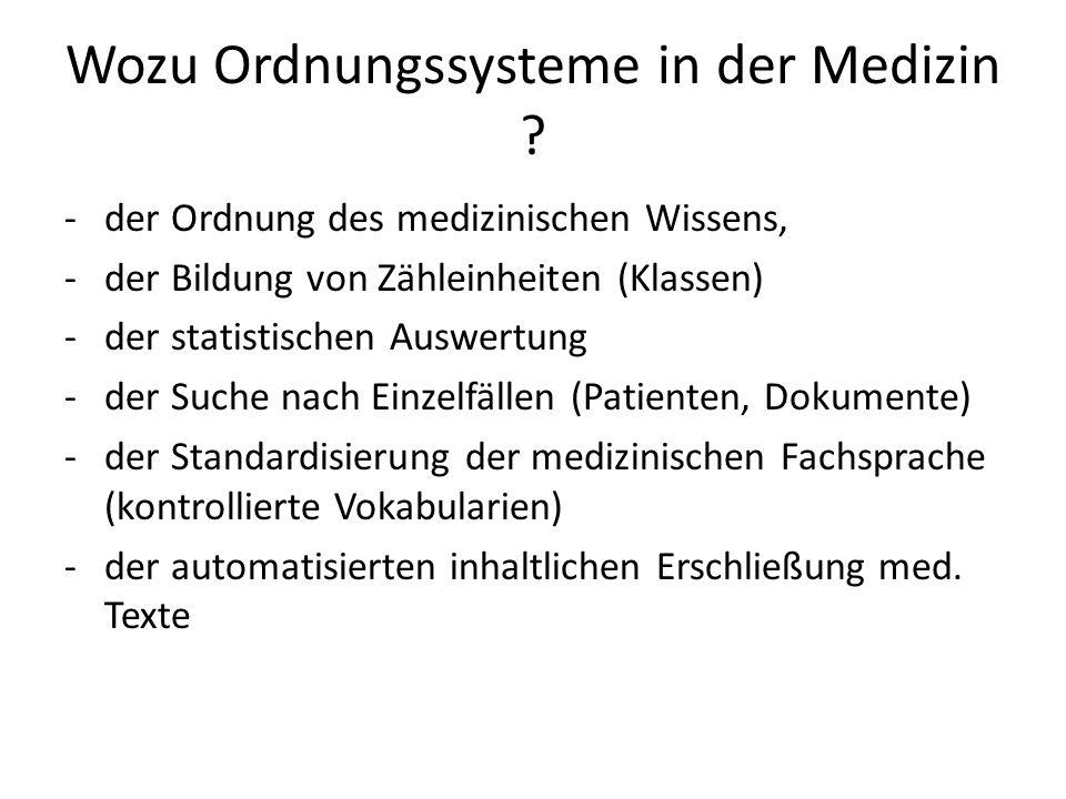 Wozu Ordnungssysteme in der Medizin .