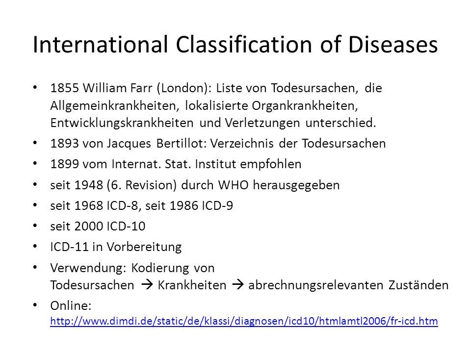 1855 William Farr (London): Liste von Todesursachen, die Allgemeinkrankheiten, lokalisierte Organkrankheiten, Entwicklungskrankheiten und Verletzungen unterschied.