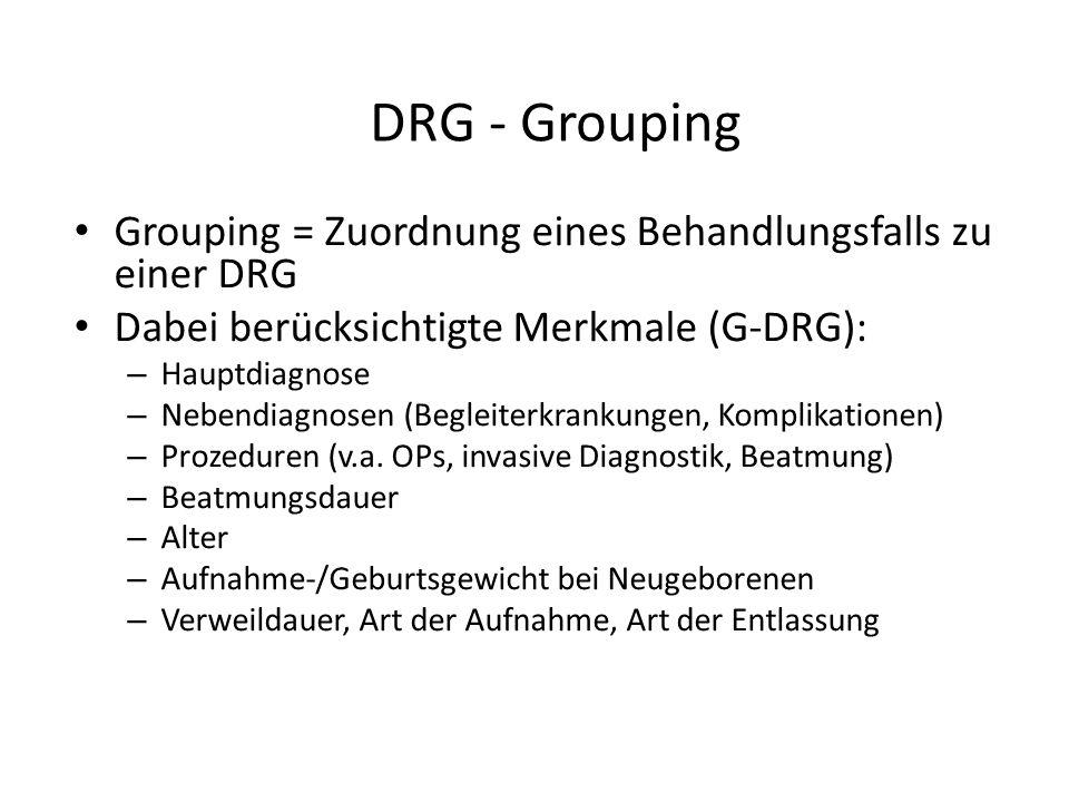 DRG - Grouping Grouping = Zuordnung eines Behandlungsfalls zu einer DRG Dabei berücksichtigte Merkmale (G-DRG): – Hauptdiagnose – Nebendiagnosen (Begleiterkrankungen, Komplikationen) – Prozeduren (v.a.