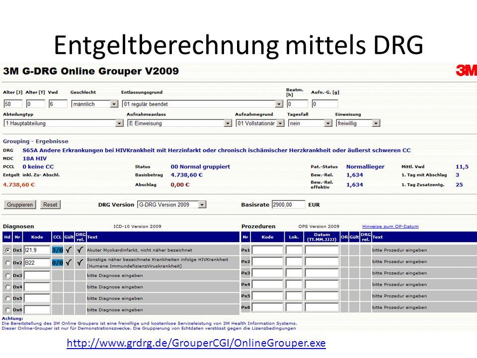 Entgeltberechnung mittels DRG http://www.grdrg.de/GrouperCGI/OnlineGrouper.exe