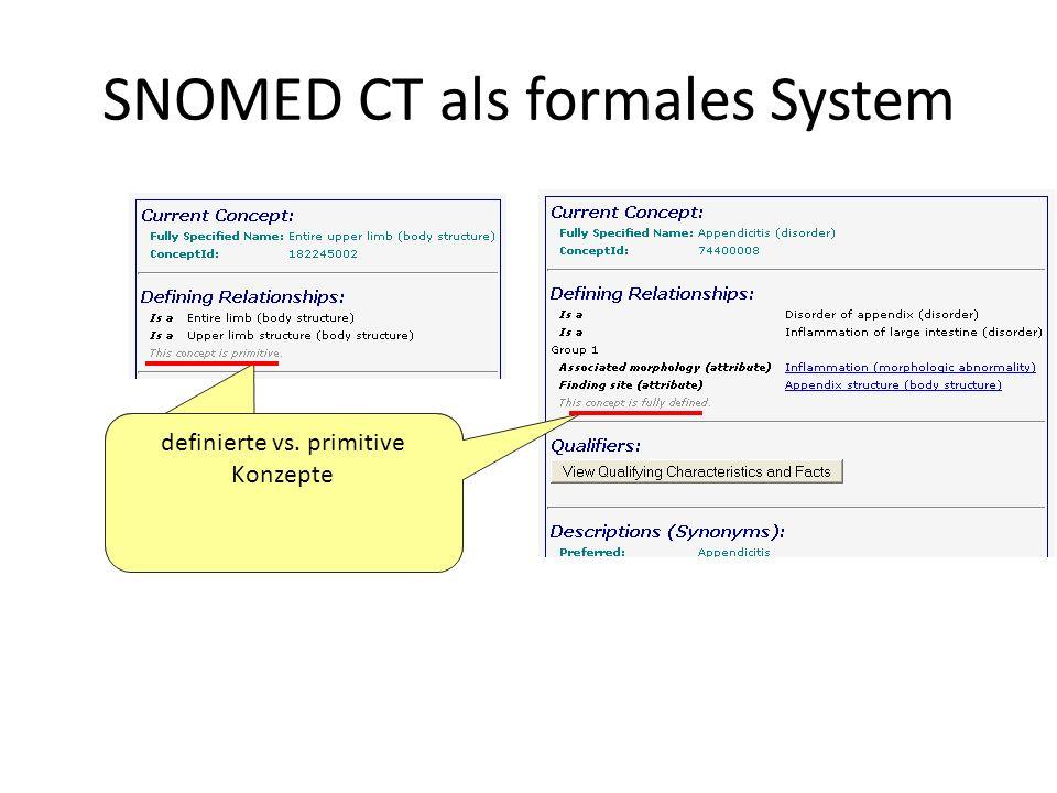 SNOMED CT als formales System definierte vs. primitive Konzepte
