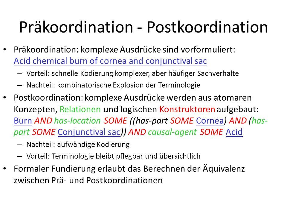 Präkoordination - Postkoordination Präkoordination: komplexe Ausdrücke sind vorformuliert: Acid chemical burn of cornea and conjunctival sac – Vorteil: schnelle Kodierung komplexer, aber häufiger Sachverhalte – Nachteil: kombinatorische Explosion der Terminologie Postkoordination: komplexe Ausdrücke werden aus atomaren Konzepten, Relationen und logischen Konstruktoren aufgebaut: Burn AND has-location SOME ((has-part SOME Cornea) AND (has- part SOME Conjunctival sac)) AND causal-agent SOME Acid – Nachteil: aufwändige Kodierung – Vorteil: Terminologie bleibt pflegbar und übersichtlich Formaler Fundierung erlaubt das Berechnen der Äquivalenz zwischen Prä- und Postkoordinationen