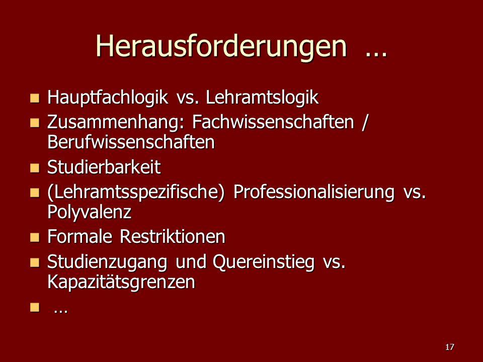 17 Herausforderungen … Hauptfachlogik vs. Lehramtslogik Hauptfachlogik vs. Lehramtslogik Zusammenhang: Fachwissenschaften / Berufwissenschaften Zusamm