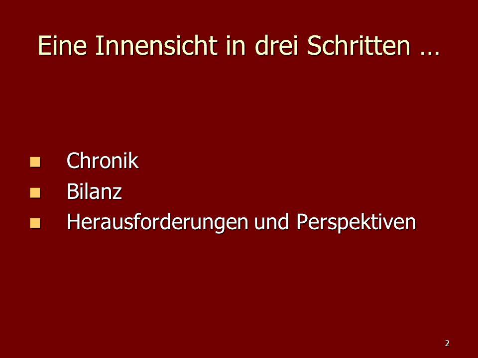 2 Eine Innensicht in drei Schritten … Chronik Chronik Bilanz Bilanz Herausforderungen und Perspektiven Herausforderungen und Perspektiven