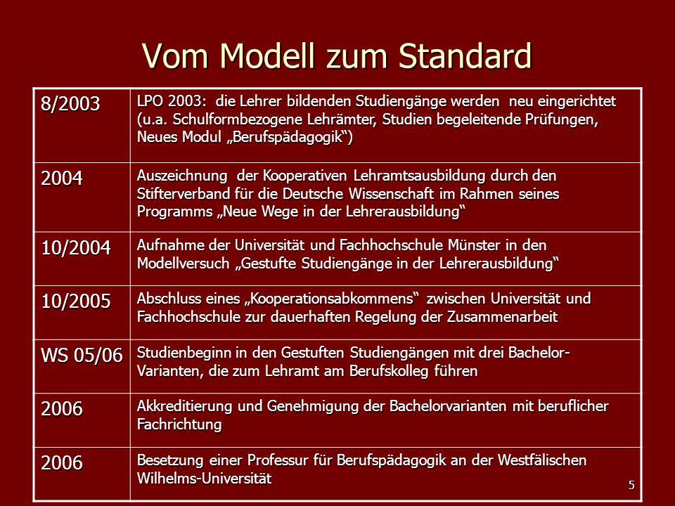5 Vom Modell zum Standard 8/2003 LPO 2003: die Lehrer bildenden Studiengänge werden neu eingerichtet (u.a. Schulformbezogene Lehrämter, Studien begele