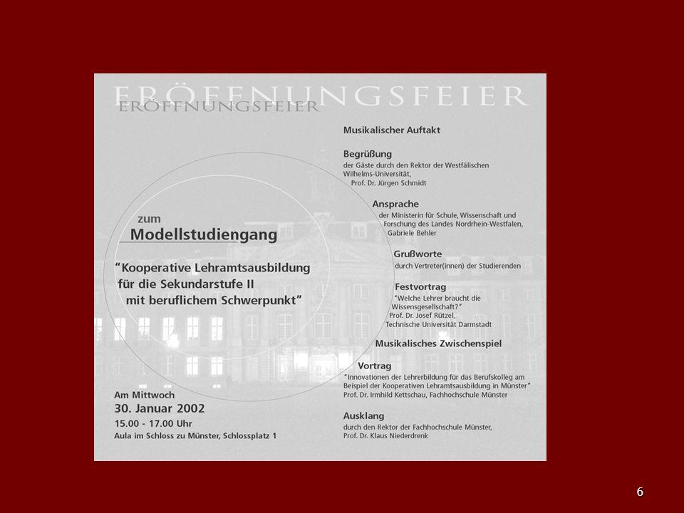 7 Bilanz (in Zahlen) … Während der Modellversuchszeit … haben 57 Studierende das Studium mit dem ersten Staatsexamen abgeschlossen haben 57 Studierende das Studium mit dem ersten Staatsexamen abgeschlossen kamen vier allgemein bildenden Fächer und zwei berufliche Fachrichtungen dazu kamen vier allgemein bildenden Fächer und zwei berufliche Fachrichtungen dazu wurde der Münsteraner Standort NRW-weit Alleinanbieter der Beruflichen Fachrichtungen Chemietechnik, Ernährung/Hauswirtschaft, Gesundheit/Pflege und Versorgungstechnik wurde der Münsteraner Standort NRW-weit Alleinanbieter der Beruflichen Fachrichtungen Chemietechnik, Ernährung/Hauswirtschaft, Gesundheit/Pflege und Versorgungstechnik