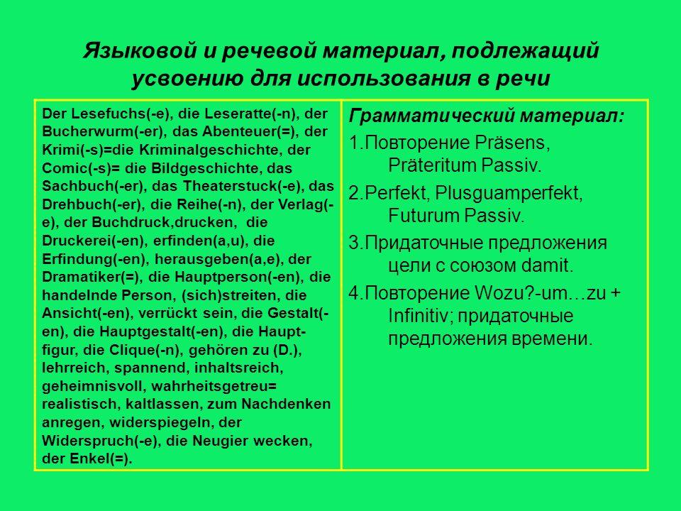 Языковой и речевой материал, подлежащий усвоению для использования в речи Der Lesefuchs(-e), die Leseratte(-n), der Bucherwurm(-er), das Abenteuer(=), der Krimi(-s)=die Kriminalgeschichte, der Comic(-s)= die Bildgeschichte, das Sachbuch(-er), das Theaterstuck(-e), das Drehbuch(-er), die Reihe(-n), der Verlag(- e), der Buchdruck,drucken, die Druckerei(-en), erfinden(a,u), die Erfindung(-en), herausgeben(a,e), der Dramatiker(=), die Hauptperson(-en), die handelnde Person, (sich)streiten, die Ansicht(-en), verrückt sein, die Gestalt(- en), die Hauptgestalt(-en), die Haupt- figur, die Clique(-n), gehören zu (D.), lehrreich, spannend, inhaltsreich, geheimnisvoll, wahrheitsgetreu= realistisch, kaltlassen, zum Nachdenken anregen, widerspiegeln, der Widerspruch(-e), die Neugier wecken, der Enkel(=).