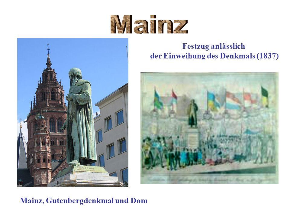 Mainz, Gutenbergdenkmal und Dom Festzug anlässlich der Einweihung des Denkmals (1837)