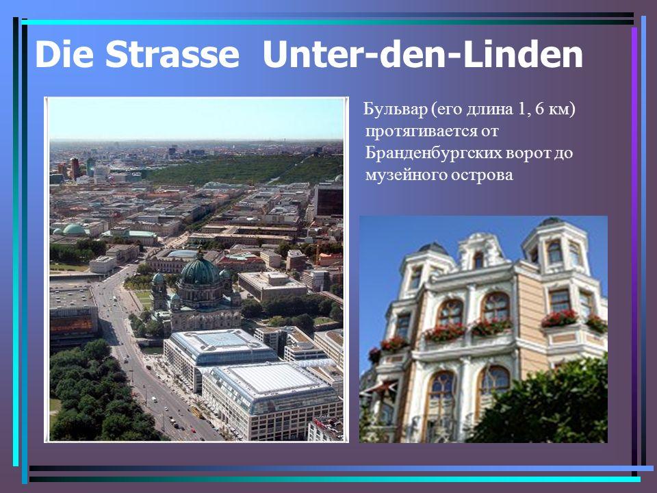 Die Strasse Unter-den-Linden Бульвар (его длина 1, 6 км) протягивается от Бранденбургских ворот до музейного острова