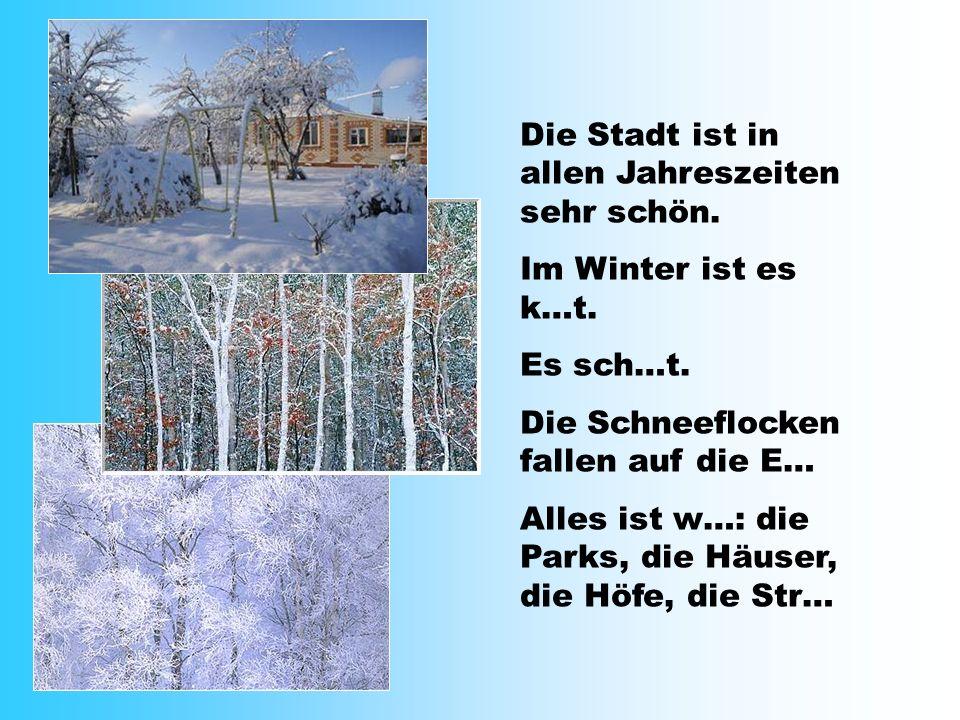 Die Stadt ist in allen Jahreszeiten sehr schön. Im Winter ist es k…t. Es sch…t. Die Schneeflocken fallen auf die E… Alles ist w…: die Parks, die Häuse
