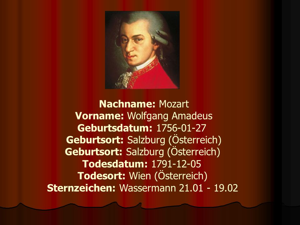 Geburt Wolfgang Amadeus Mozart kam am 27.